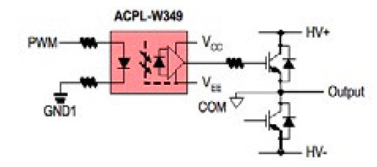 A simplified gate drive optocoupler application circuit.