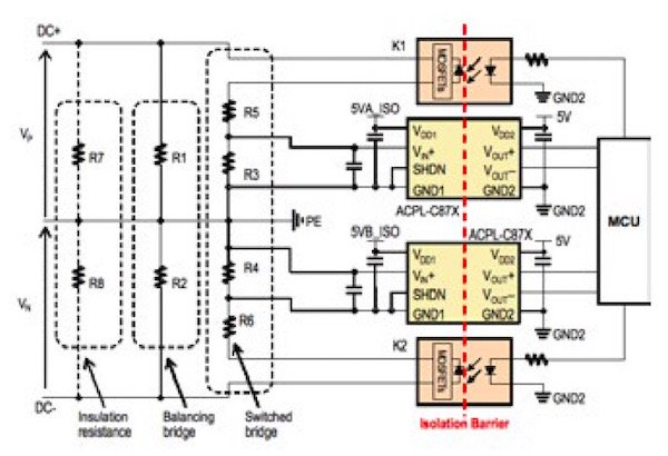 An example of an insulation resistance monitoring circuit.